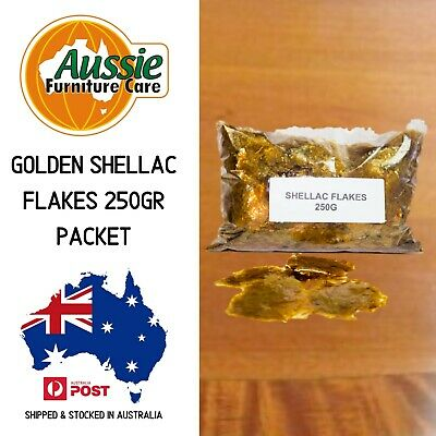 Golden Shellac Flakes 250gr Pack For Antique Restoration & French Polish