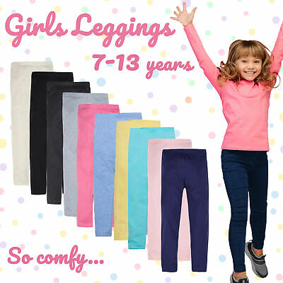 Girls Leggings Cotton Rich Pants Soft Stretch Plain Everyday Essential Pants