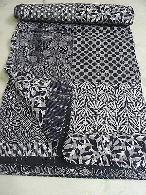 Indian Patch Work Kantha Quilt Handmade Block Print Bedspread Twin Size Throw