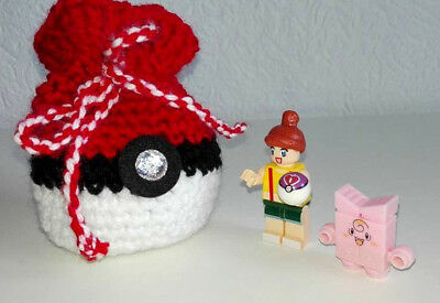 1x Pokeball Pokemon Beutel gehäkelt + Pokemon + Trainer Mega Blocks, Mitgebsel