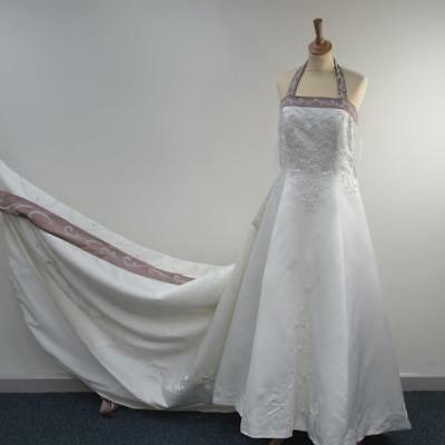 NWT Alfred Angelo Ivory Satin Pearl Embroidered S/Less Wedding Dress UK 18, 1612