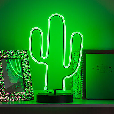 LED Neon Sign Light Cactus Battery Table Lamp Decoration 35.5cm by Lights4fun