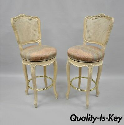 Vtg French Country Louis XV Style Cane Back Swivel Bar Stools Chairs Wood a Pair
