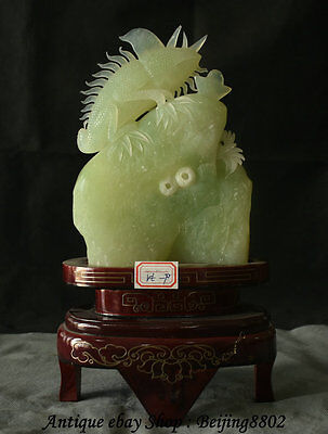 "14"" Chinese Natural Xiu Green Jade Carving Animal lizard lacertid Wealth Statue"