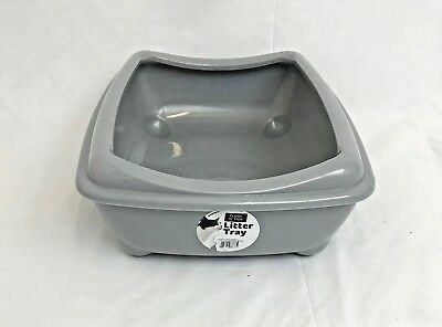 Cat Medium Litter Tray With Rim 42x31x13cm grey Quality Box Pan Toilet Loo