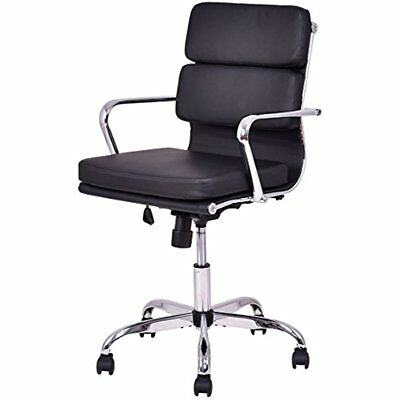Mid Back PU Leather Executive Office Chair Computer Desk Task Swivel Black
