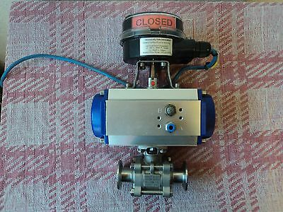 "Actuated Pneumatic Ball Valve 1"" Stainless Steel 316 Tri-Clamp ,  2 available"