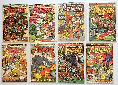 The Avengers Marvel Comics Comic Book Lot of 8 1973