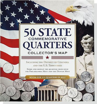 50 State Commemorative Quarters Collector'S Map Color Quarter Holder Educational