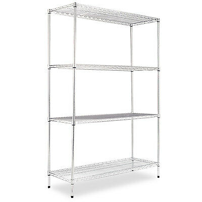 Alera Industrial Heavy-Duty Wire Shelving Starter Kit, 4-Shelf, 48w x 18d x 72h