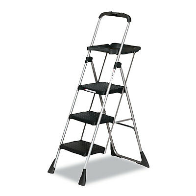 Cosco Max Work Steel Platform Ladder 22w x 31d x 55h 3-Step Black 11880PBLW1