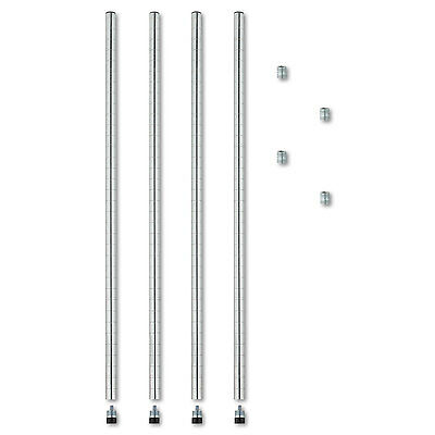 "Alera Stackable Posts For Wire Shelving, 36"" High, Silver, 4/Pack SW59PO36SR"