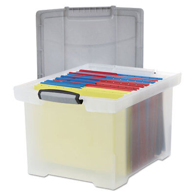 Storex Portable File Tote w/Locking Handle Storage Box Letter/Legal Clear