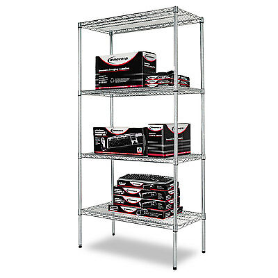 Alera Industrial Heavy-Duty Wire Shelving Starter Kit, 4-Shelf, 36w x 18d x 72h