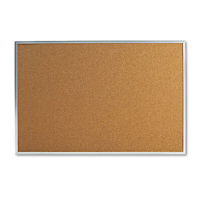 UNIVERSAL Bulletin Board Natural Cork 36 x 24 Satin-Finished Aluminum Frame