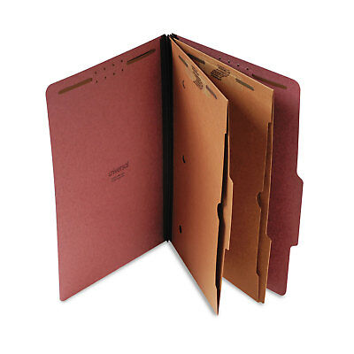 UNIVERSAL Pressboard Folder with 2 Dividers Legal Six-Section Red 10/Box 10326