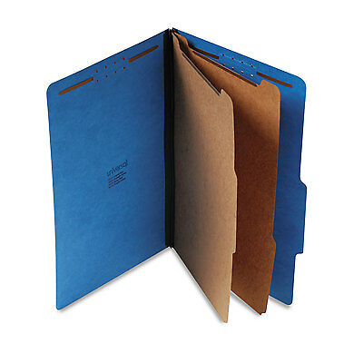 UNIVERSAL Pressboard Classification Folders Legal Six-Section Cobalt Blue 10/Box