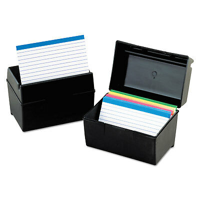 Oxford Plastic Index Card File 300 Capacity 5 5/8w x 3 5/8d Black 01351