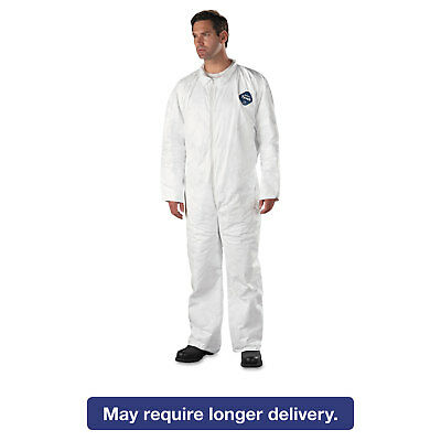 DuPont Tyvek Coveralls Open Wrist/Ankle HD Polyethylene White X-Large 25/Carton