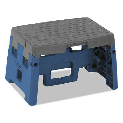 "Cosco One-Step Folding Step Stool 300 lb 8 1/2"" Working Height Blue/Gray"