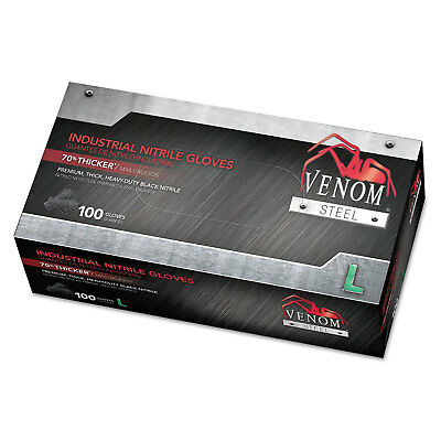 Medline Venom Steel Industrial Nitrile Gloves Large Black 6 mil 100/Box VEN6143