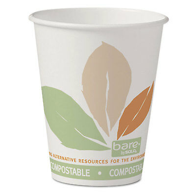 Dart Bare by Solo Eco-Forward PLA Paper Hot Cups 8 oz Leaf Design 50/Pack