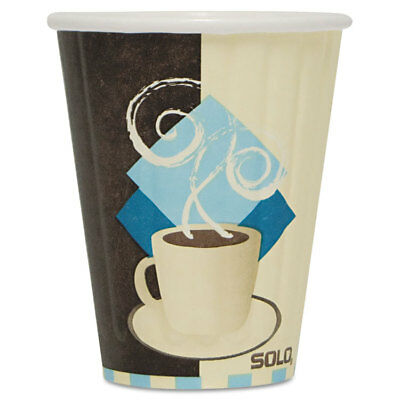 Solo Duo Shield Insulated Paper Hot Cups 8oz Tuscan Chocolate/Blue/Beige 50/Pk