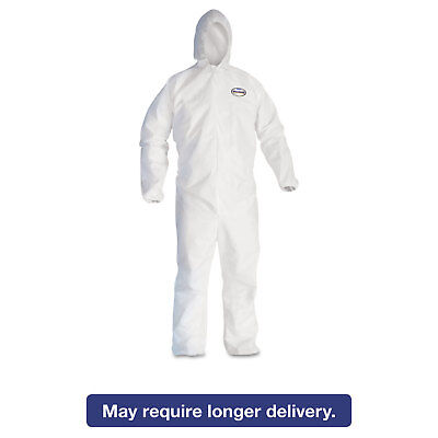 KleenGuard* A30 Elastic-Back & Cuff Hooded Coveralls White X-Large 25/Case 46114
