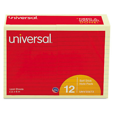 UNIVERSAL Standard Self-Stick Notes Lined 4 x 6 Yellow 100-Sheet 12/Pack 35673
