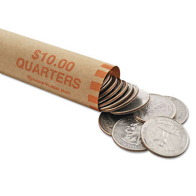 MMF Industries™ Nested Preformed Coin Wrappers Quarters $10.00 Orange 1000