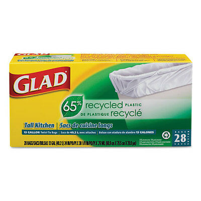 Glad Recycled Tall Ktchn Drwstrng Bag 24 x 30 1/8 13gal .75mil White 28/BX 12 BX