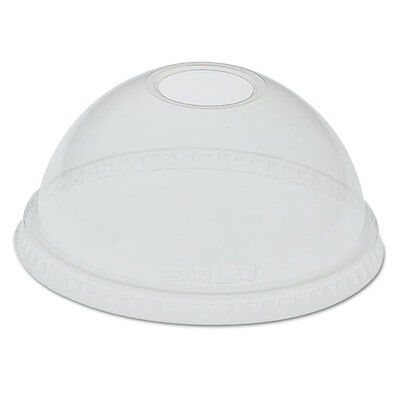SOLO Dome-Top Cold Cup Lids f/24-26oz Cups Clear 100/Sleeve 1000/Carton DLR24