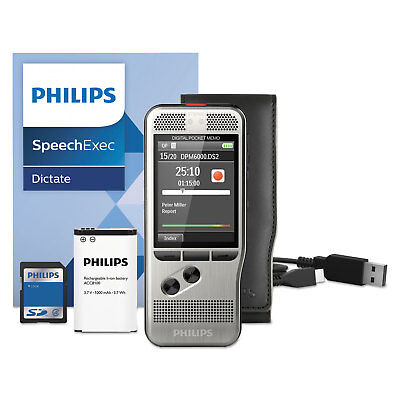 Philips Pocket Memo 6000 Digital Recorder Push Button 2GB Silver DPM600001