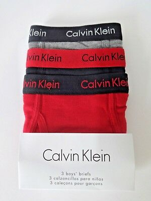 CALVIN KLEIN BOYS BRIEFS SIZE XS 4 5 3 PACK RED and BLACK and GREY
