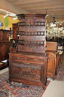 French Antique Brittany Carved Oak Buffet Dining Room Server Sideboard Furniture
