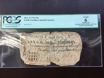 Colonial currency North Carolina March 9, 1754 30s