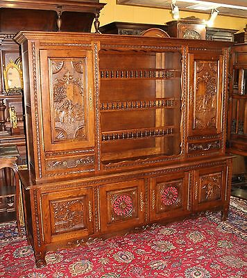 French Antique Brittany Carved Oak Large Buffet Furniture Dining Room Sideboard