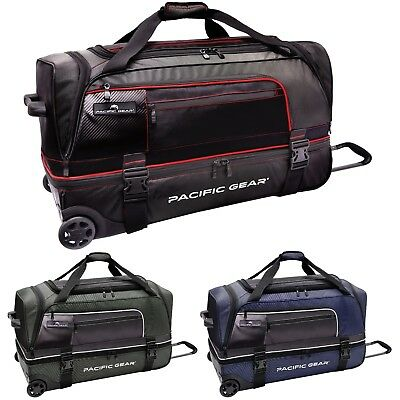 """Pacific Gear Drop Zone Drop Bottom 30"""" Large Checked Wheeled Rolling Duffel Bag"""