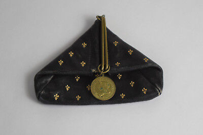 Vintage Estate Black Leather Made in Italy Gold Fleur De Lis Pattern Coin Purse
