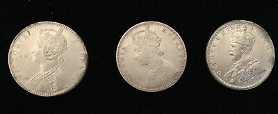 1918,1886,1893 British India Queen Victoria One Rupee Silver Coin 3 Coins