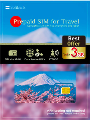 Japan SIM: 31 Days 3 GB Pre-Paid SIM for Travel (multiple size, tablet/mobile)