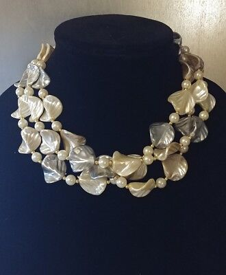 """Vintage 18"""" Faux Mother of Pearl Triple Strand Necklace"""