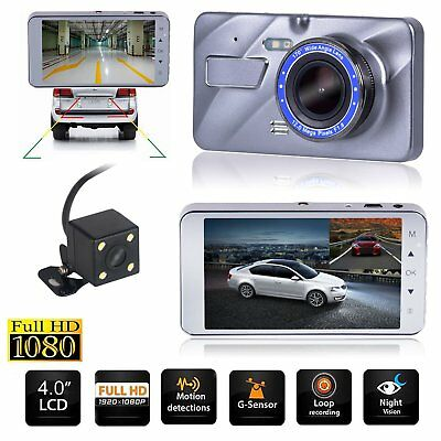 HD 1080P 4'' Dual Lens G-sensor Car DVR Dashboard Camera Dash Cam Video Recorder
