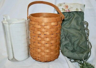 Longaberger Basket Tote Wine Cooler Beverage Carrier with Liners + Ice Packs