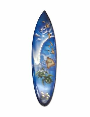 Honu and HI Islands Airbrush Painted Surfboard Welcome Home Sign