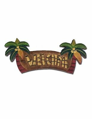 Coconut Tree Welcome Hand Painted Sign