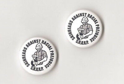1x SHARP Skin Button Punk Oi Skingirl Antiracist Skinhead Anti Nazi GNWP Antifa