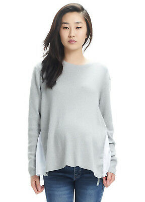 NEW - Soon Maternity - Grace Pleat Back Maternity Jumper in Grey/White