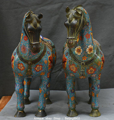 """20"""" Rare Old Chinese Cloisonne Enamel Bronze Fengshui Tang War Horse Statue Pair"""