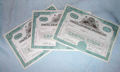 3 each NAA North American Aviation Stock Certs, 1960/70s all under 100 shares